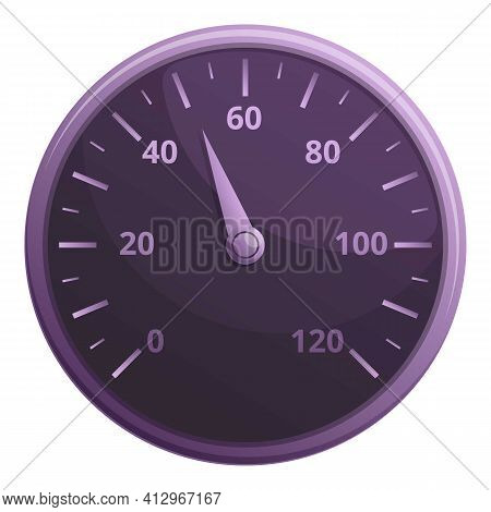 Car Mile Speedometer Icon. Cartoon Of Car Mile Speedometer Vector Icon For Web Design Isolated On Wh