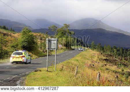 Loch Awel (scotland), Uk - August 15, 2018: The Landscape Near Loch Awe, Scotland, United Kingdom