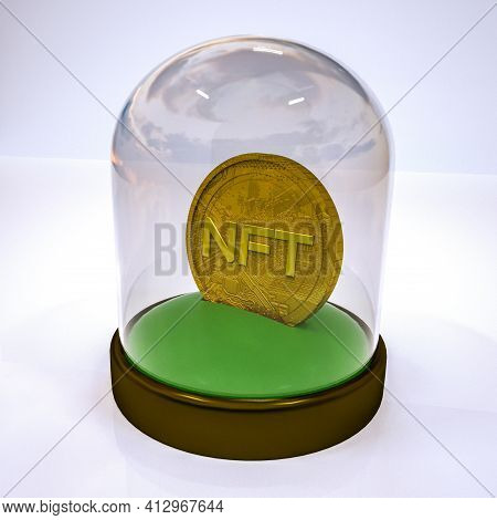Gold Stylized Coin With The Inscription Nft In A Case Under A Glass Cover. Crypto Art Concept. 3D Re