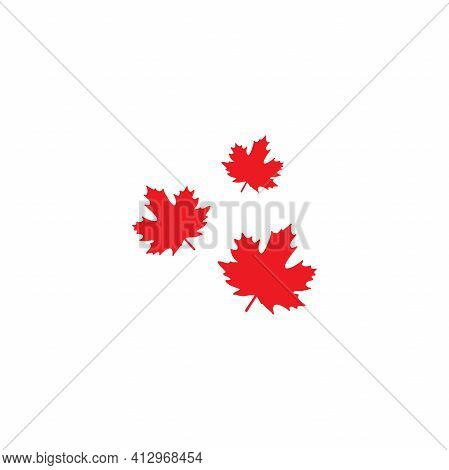 Three Shabby Red Maple Leaves Logo. Vector Icon. Isolated On White. Autumn Single Leaf Silhouette. N