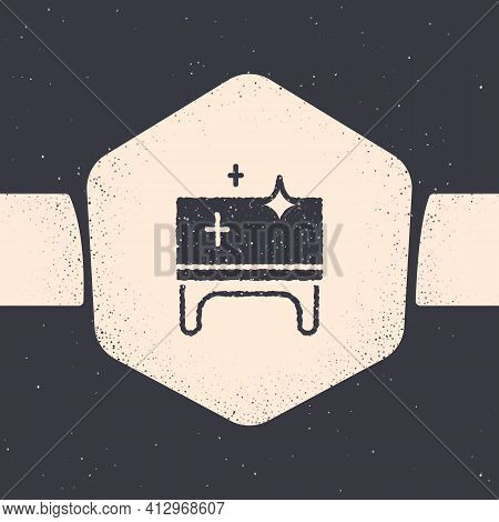 Grunge Clean Wooden Table Icon Isolated On Grey Background. Monochrome Vintage Drawing. Vector