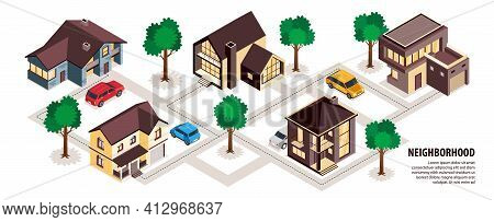 Modern Suburb Neighborhood Cottages Houses Private Space Car Accommodation Walking Paths Trees Isome