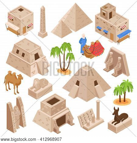 Egypt Tourists Attractions Ancient Culture Monuments Isometric Set With Pyramids Camels Sphinx Gods