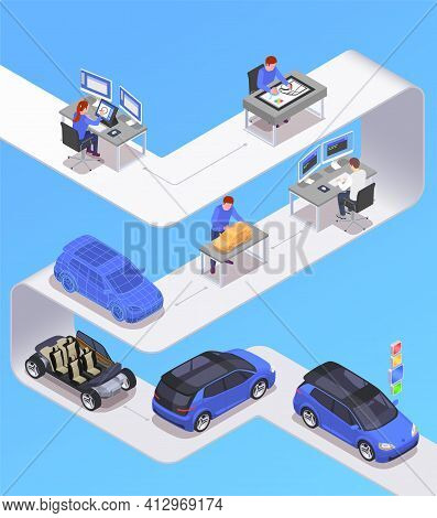 Car Designer Profession Isometric Concept With Sketching Symbols Vector Illustration