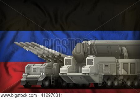 Rocket Forces On The Donetsk Peoples Republic Flag Background. Donetsk Peoples Republic Rocket Force