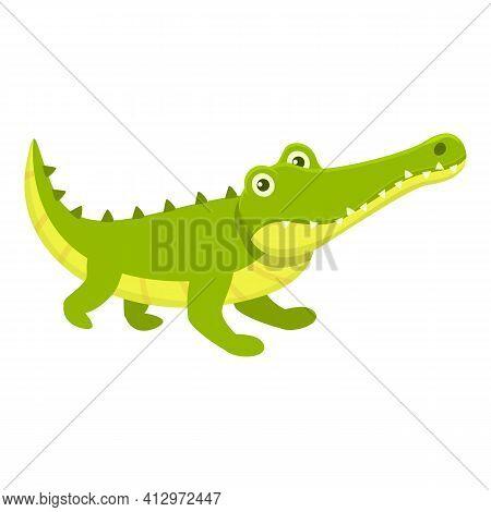 Ready Crocodile Icon. Cartoon Of Ready Crocodile Vector Icon For Web Design Isolated On White Backgr