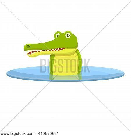 Crocodile Lake Bath Icon. Cartoon Of Crocodile Lake Bath Vector Icon For Web Design Isolated On Whit