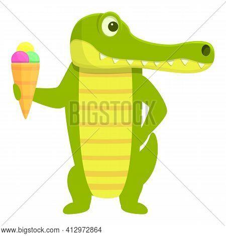 Crocodile With Ice Cream Icon. Cartoon Of Crocodile With Ice Cream Vector Icon For Web Design Isolat