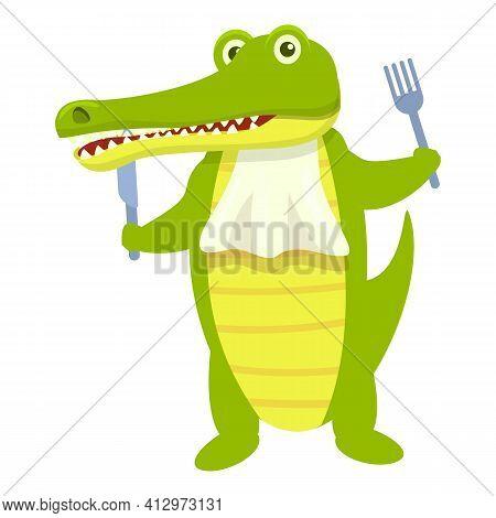 Ready For Food Crocodile Icon. Cartoon Of Ready For Food Crocodile Vector Icon For Web Design Isolat