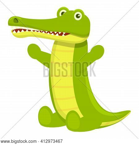 Happy Crocodile Icon. Cartoon Of Happy Crocodile Vector Icon For Web Design Isolated On White Backgr