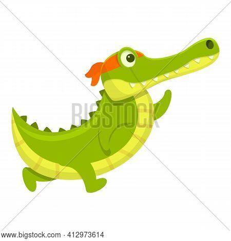 Running Crocodile Icon. Cartoon Of Running Crocodile Vector Icon For Web Design Isolated On White Ba