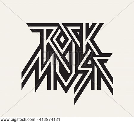 Rock Music - Vector Logo, Emblem, Label, Badge Or Design Element Isolated On A Light Background. Cre