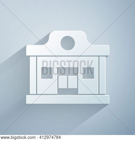 Paper Cut Wild West Saloon Icon Isolated On Grey Background. Old West Building. Paper Art Style. Vec