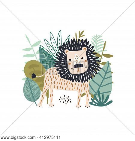 Cute Cartoon Lion Surrounded By Tropical Plants, Branches. Lion In The Jungle. Childish Print For Nu