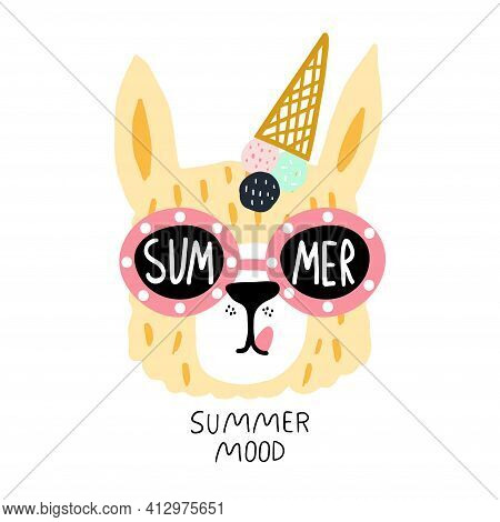 Funny Llama Face In Sunglasses And Ice Cream On Their Heads. Childish Summer Print For Fabric, T-shi