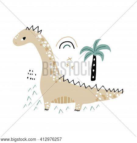 Cute Hand Drawn Dinosaur. Cartoon Dino Illustration In Scandinavian Style. Creative Vector Dino Prin