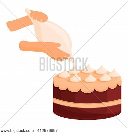 Making Cake Icon. Cartoon Of Making Cake Vector Icon For Web Design Isolated On White Background