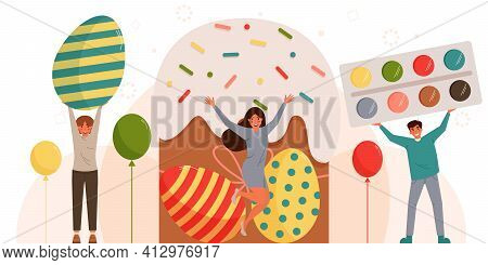 Happy Easter Day Concept. A Group Of Happy People Hold Easter Objects In Their Hands. Easter Greetin