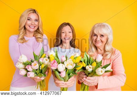 Photo Of Happy Retired Pensioner Old Woman Little Girl And Young Mother Give You Tulips Isolated On