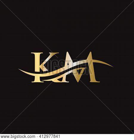 Km Letter Logo. Initial Km Letter Business Logo Design Vector Template