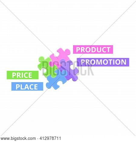 Marketing Mix Puzzle Icon. Cartoon Of Marketing Mix Puzzle Vector Icon For Web Design Isolated On Wh