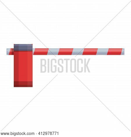 Railroad Barrier Crossing Icon. Cartoon Of Railroad Barrier Crossing Vector Icon For Web Design Isol