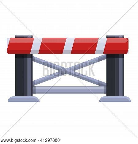 Railroad Barrier Gate Icon. Cartoon Of Railroad Barrier Gate Vector Icon For Web Design Isolated On