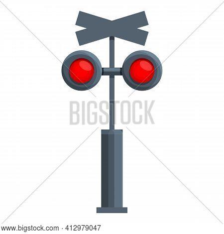 Railroad Traffic Lights Icon. Cartoon Of Railroad Traffic Lights Vector Icon For Web Design Isolated