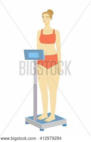 Woman On The Scales. Medical Scales. Weight Control. Girl On Electronic Scales. Stock Vector Illustr