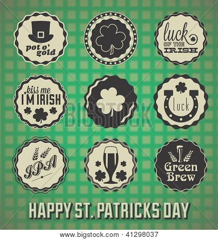 Vector Set: Retro St. Patrick's Day Labels