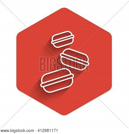 White Line Macaron Cookie Icon Isolated With Long Shadow. Macaroon Sweet Bakery. Red Hexagon Button.