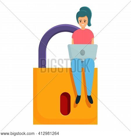 Girl Laptop Privacy Icon. Cartoon Of Girl Laptop Privacy Vector Icon For Web Design Isolated On Whit