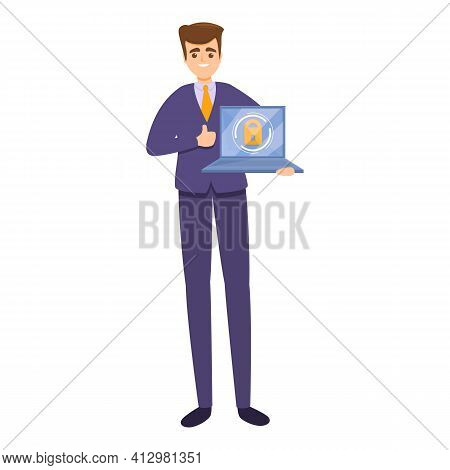Online Business Privacy Icon. Cartoon Of Online Business Privacy Vector Icon For Web Design Isolated