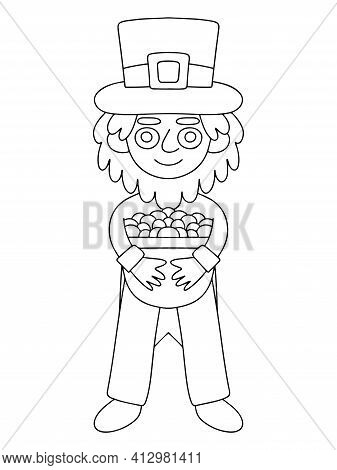 Leprechaun With Pot Of Gold Coloring Page Stock Vector Illustration. Funny Cartoon Irish Folklore Ch