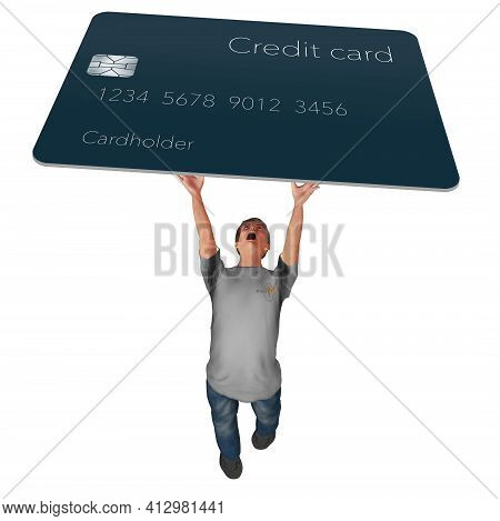 A Man Struggles To Hold A Credit Card Overhead In This 3-d Illustration About Credit Card Debt.