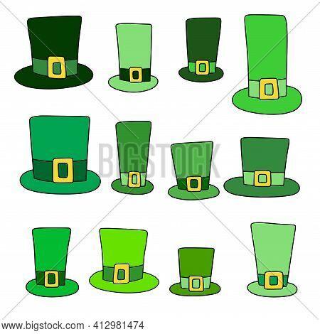 Cartoon Green Saint Patrick's Day Hats Set Stock Vector Illustration. Twelve Original Hand Drawn Gre