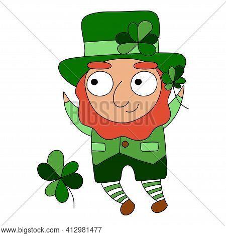 Funny Cartoon Character Saint Patrick With Shamrocks Stock Vector Illustration. Ireland's Saint Patr