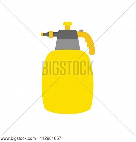 Cartoon Garden Sprayer Icon Isolated On White Background, Gardening Tool, Vector Illustration With Y