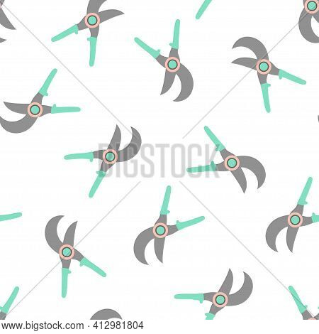 Seamless Pattern With Cartoon Gardening Scissors, Secateur Isolated On White Background, Gardening T