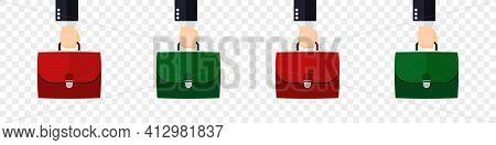 Briefcase In Hand. Briefcases Modern Style. Portfolio Icons. Vector Illustration