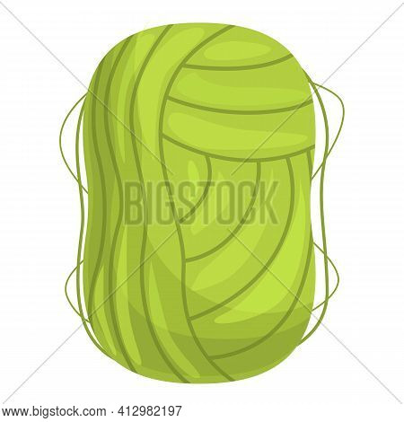 Knitting Green Thread Icon. Cartoon Of Knitting Green Thread Vector Icon For Web Design Isolated On