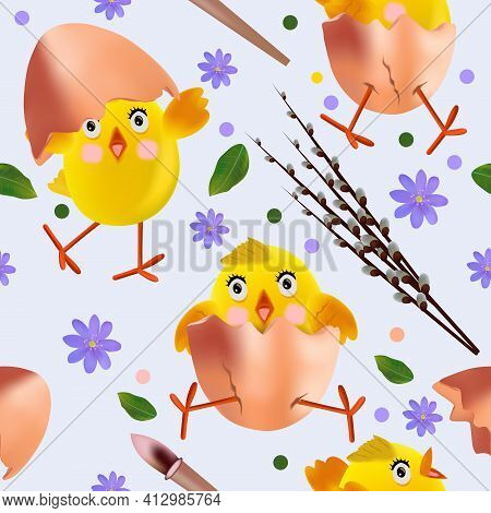 Seamless Pattern With Easter Chicken, Flowers, Eggs, Green Leaf, Pussy Willow. Cute Cartoon Chickens