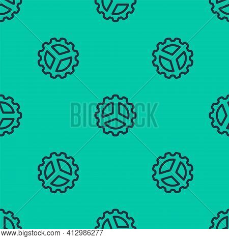 Blue Line Bicycle Sprocket Crank Icon Isolated Seamless Pattern On Green Background. Vector