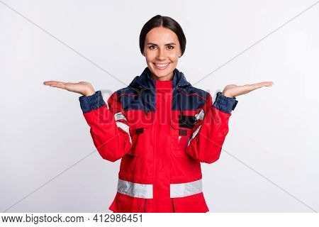 Photo Of Young Woman Paramedic Happy Positive Smile Hold Hands Advert Pros Cons Solution Isolated Ov