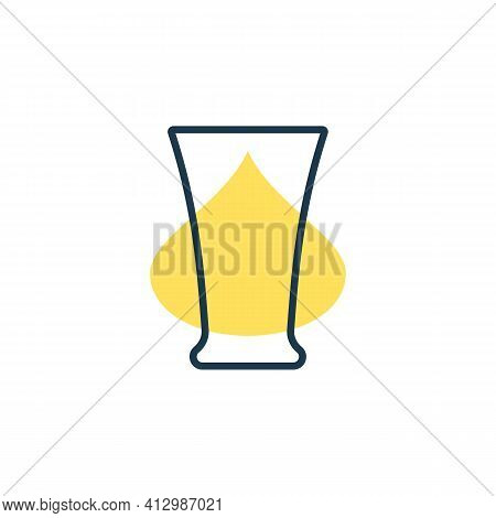 Modern Abstract Illustration With Glass Tequila With Color Blob. Linear Outline Sign. Logo Illustrat