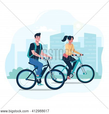 A Couple Of Lovers Ride Modern Electric Bicycles. Alternative Environmentally Friendly Transport, He