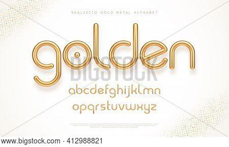 Realistic Gold Metal Font. Modern Minimal Font. Metallic 3d Typeface. English Alphabet. Vector Illus
