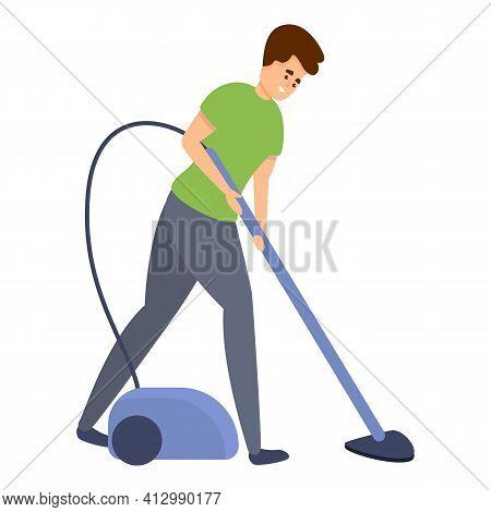 Boy Use Vacuum Cleaner Icon. Cartoon Of Boy Use Vacuum Cleaner Vector Icon For Web Design Isolated O