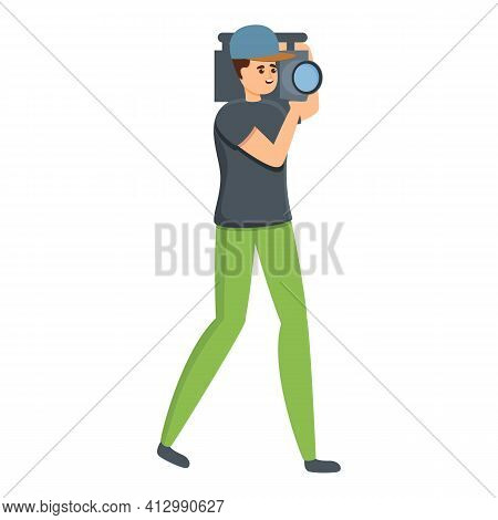 Tv Cameraman Icon. Cartoon Of Tv Cameraman Vector Icon For Web Design Isolated On White Background