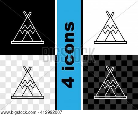 Set Line Traditional Indian Teepee Or Wigwam Icon Isolated On Black And White, Transparent Backgroun
